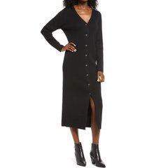 treasure & bond v-neck midi sweater dress, size small in black at nordstrom