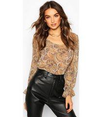 paisley print blouse, mustard