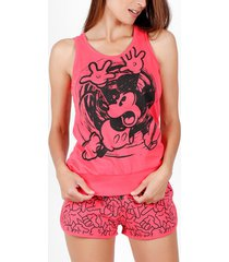 pyjama's / nachthemden admas pyjama shorts tank top mickey hand disney fuchsia