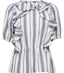 solvig blouses short-sleeved blauw rodebjer