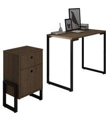 conjunto escritã³rio mesa escrivaninha 90cm e gaveteiro 2 gavetas new port f02 castanho - mpozenato - marrom - dafiti