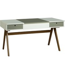 mesa escrivaninha delacroix 430 nogal/branco/cinza - maxima