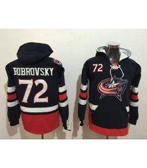 men's columbus blue jackets 72 bobrovsky hockey pullover hoodie jersey