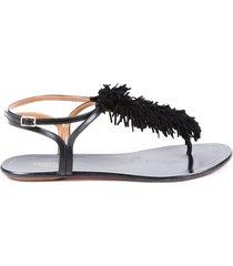 aquazzura black suede fringe thong sandals black sz: 7