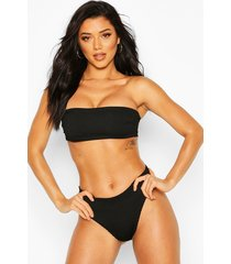 mix & match crinkle bandeau bikini top, black