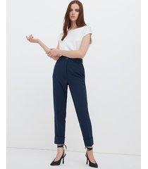 motivi pantaloni a sigaretta con risvolto donna blu