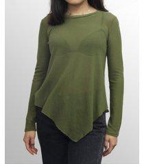 coin 1804 womens mesh asymmetric hem long sleeve top