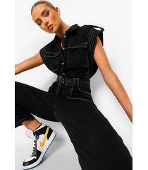 denim utility jumpsuit met contrasterende stiksels, black