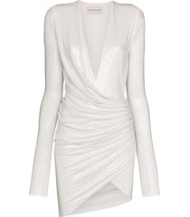 alexandre vauthier gathered crystal-embellished mini dress - white