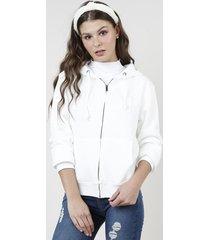 """blusão feminino """"cool"""" em moletom felpado com capuz e bolsos off white"""