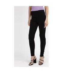 calça legging feminina com recorte em suede preta