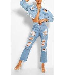 gescheurde jeans met rechte pijp, lichtblauw