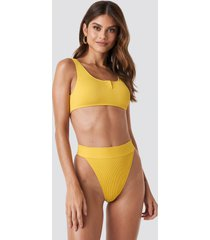 gerda x na-kd ribbed high waist bikini bottom - yellow