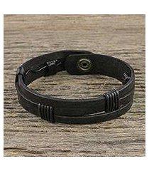 men's leather wristband bracelet, 'commander in black' (thailand)