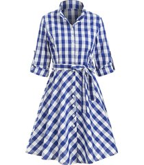 button up plaid belted flare dress