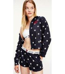 tommy hilfiger women's organic cotton stars hoodie navy/ star print - m