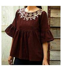 cotton blouse, 'chocolate chic' (thailand)