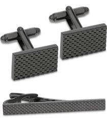 sutton by rhona sutton men's gunmetal-tone textured cufflinks & tie bar set