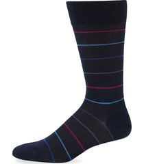 marcoliani men's striped cotton socks - navy red