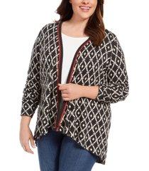 belldidni plus size geometric jacquard high-low cardigan sweater