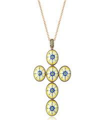 azhar designer necklaces, capri silver, zircon and enamel cross necklace