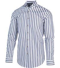 blue industry heren overhemd blauw gestreept perfect fit