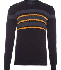 suéter masculino honeycomb chest stripes - preto