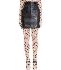 marine serre skirt in black leather