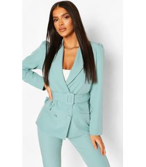 double breasted belted blazer, turquoise