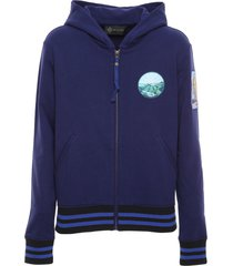 navy sweatshirt with embroidered patches for woman