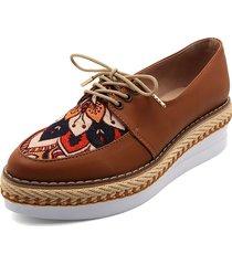 zapato casual miel por lona lorena herrera