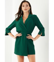 yoins green wrap design lapel collar long sleeves playsuit