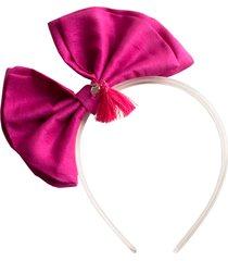 tiara acrílico laço tafetá lilies & roses ny rosa