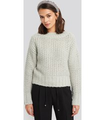 na-kd trend heavy knitted wide rib sweater - grey