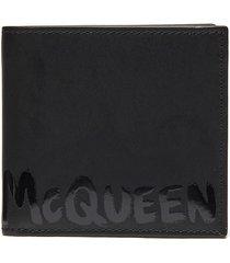 graffiti logo leather bi-fold wallet