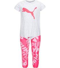 puma little girls 2-pc. tie-front t-shirt & printed capri leggings