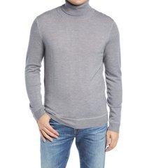 men's nordstrom signature merino wool garment dye turtleneck sweater, size xx-large - grey