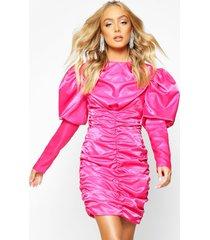 premium getailleerde ruche jurk met pofmouwen, warm roze