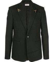 saint laurent beaded fitted blazer - black