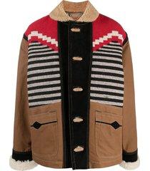 diesel colour-block duffle coat - brown