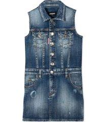 dsquared2 blue stretch-cotton denim dress
