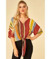 yoins blusa de media manga con cuello de pico anudado a rayas multicolor