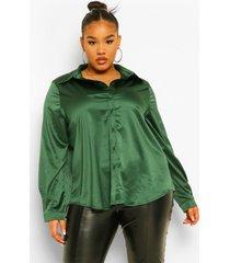 plus oversized satijnen blouse, emerald