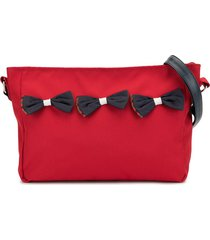 familiar bow detail shoulder bag - red