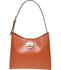 salvatore ferragamo trifolio shoulder bag in leather color leather