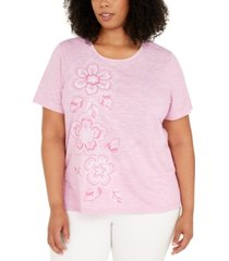 alfred dunner plus size petal pushers embroidered flowers top