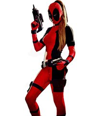 high quailty fantasia lady deadpool jumpsuit costume spandex adult red fullbody