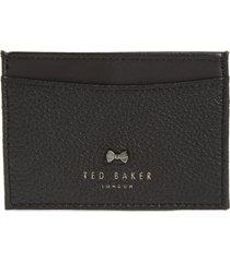 women's ted baker london lissie bow detail leather card holder - black