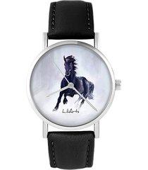 zegarek - czarny koń - skórzany, czarny