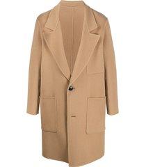 ami paris unstructured two-button coat - brown